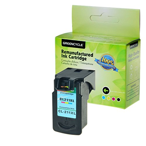 GREENCYCLE 1PK Tri-color CL-211XL Remanufactured Replacement CL-211 211XL Ink Cartridge,349 pages,PIXMA Ip2702 MP270 MP490 MX320 MX360 Inkjet Printer (1PK, Color 211XL)