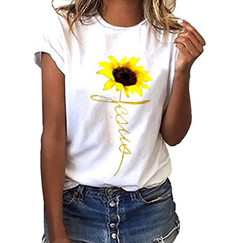 Casual Women Solid Color O-Neck Plus Size Sunflower Printed Short Sleeve T-Shirt Blouse Tops (L, White)