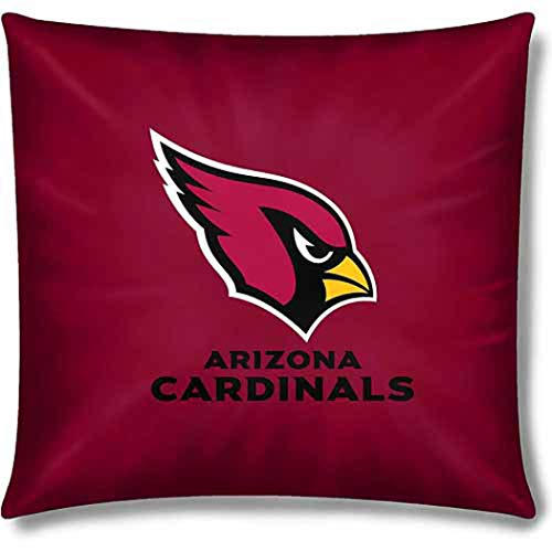 - 1 Piece NFL Cardinals Throw Pillow 15 Inches, Football Themed Accent Pillow For Sofa Sports Patterned, Team Color Logo Fan Merchandise Athletic Spirit Black, Cardinal Red, White Polyester Cotton