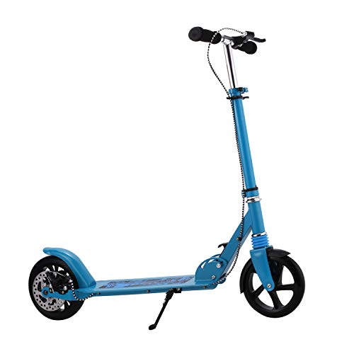 Kids/Adult Scooter with 3 Seconds Easy-Folding System, 220lb Folding Adjustable Scooter with Disc Brake and 200mm Large Wheels (Blue(with Hand Disc Brake-))