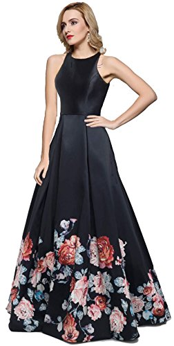 Meier Women's Long Sleeveless Open Back Print Formal Ball