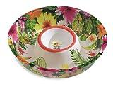 "Caribbean Floral Luau Plastic 12.5"" Chip n Dip Bowl"