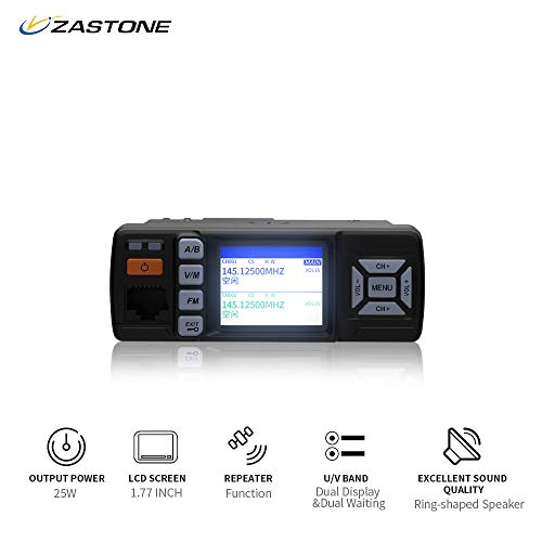 Zastone Z318 Mobile Radio 128-Channel 25W UHF/VHF 136-174/400-470MHz Dual Band Mobile Transceiver Car Ham Amateur -