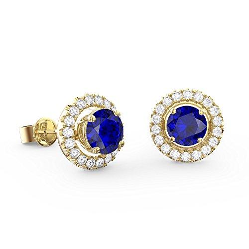 Fusion Halo Saphir Bleu et Blanc Argent Ensemble Boucles d'oreille pour femme (or jaune)