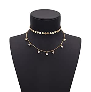 Geerier Stunning Double Layer Coin Choker Necklace