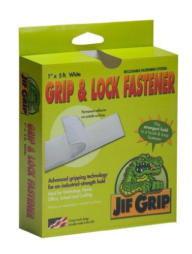 Jifram Jif Grip 14000085par 2,5cm Longueur du crochet et boucle fermeture avec dos adhésif permanent, blanc