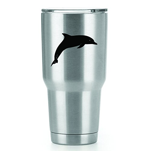 (Dolphin Jumping Vinyl Decals Stickers ( 2 Pack!!! ) | Yeti Tumbler Cup Ozark Trail RTIC Orca | Decals Only! Cup not Included! | 2 - 4.2 X 3 inch)