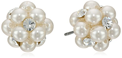 Cream Color Simulated Pearl and Clear Crystal Cluster Studs