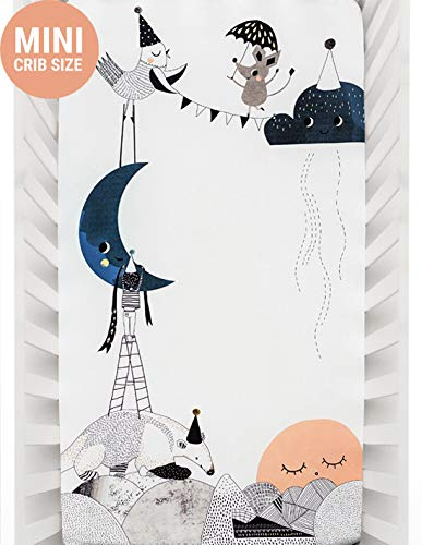 Mini Crib Sheets by Rookie Humans: 100% Cotton Sateen. Complements Modern Nursery Room, Use as a Photo Background for Your Baby Pictures. Fits Mini Crib Size (38x24 inches) (Moon's Birthday)