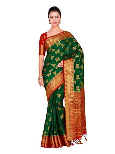 Mimosa Art Silk Wedding Saree Kanjivarm Pattu Style with Contrast Blouse Color: Green (4298-321-2D-BGRN-RD)
