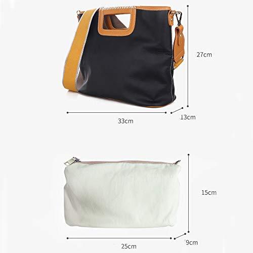 Fonction YXLONG Grande Diagonale Main Femmes Imperméable Portable Nouveau blackbrown Cuir à Tissu Automne en Espace Sac Capacité à Paquet l'eau Multi Zw6vxqTrZ