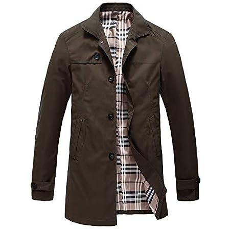 Pinkpum Men's Trench Coat Classic Lightweight Jacket Windbreaker Long Windcheater Coat Polyester Jackets Business Casual Wear 41IfT5HXtML