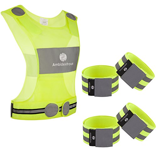 Ambidextrous Reflective Running Vest and 4 Ankle Bands Wristbands Armbands Make You 5 x More Visible and Have 8 x Lower Risk being hit in Traffic | High Visibility Cycling - Apparell Running