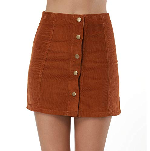 Clarisbelle Women High Waist Single Breasted Corduroy Skirt Large ()