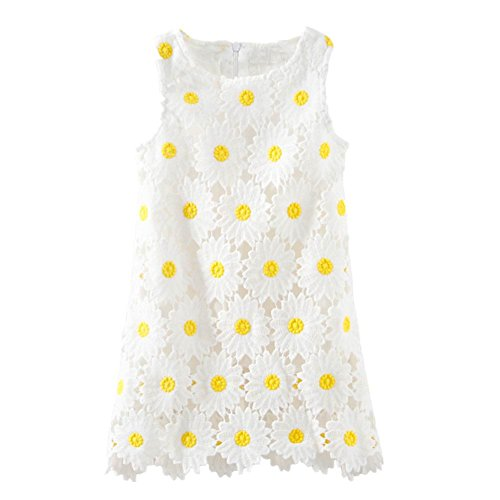 LittleSpring Flower Girl Dress Sleeveless Daisy Lace Dress (White,2-3T)