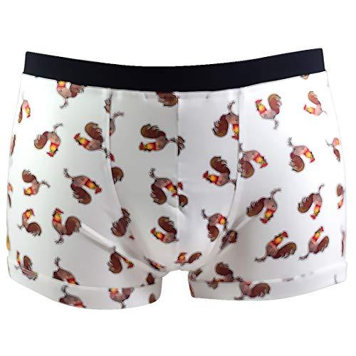 Santa Playa Lotería Super Soft Breathable Boxer Brief Trunk, Fun Print Men's Underwear :: El Gallo (L, Cream) -