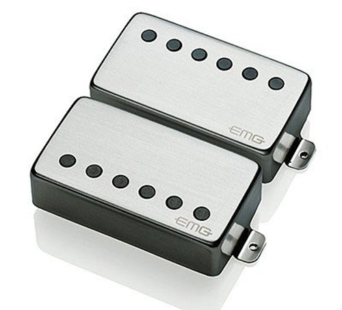EMG 57/66 Bridge and Neck Humbucker Guitar Pickups Set, Brushed Chrome ()