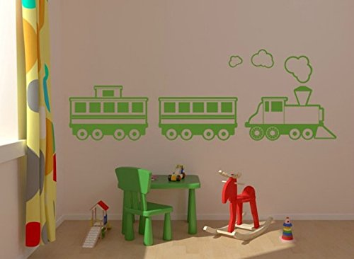 (Train Wall Decal, Children Wall Decal, Nursery Wall Decal, Nursery Wall Decor, Train Decor, Locomotive Caboose Engine Decal)