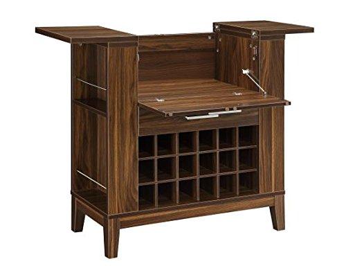 Home Bar Cabinet - Coaster Wine Bar Cabinet in Dark Walnut