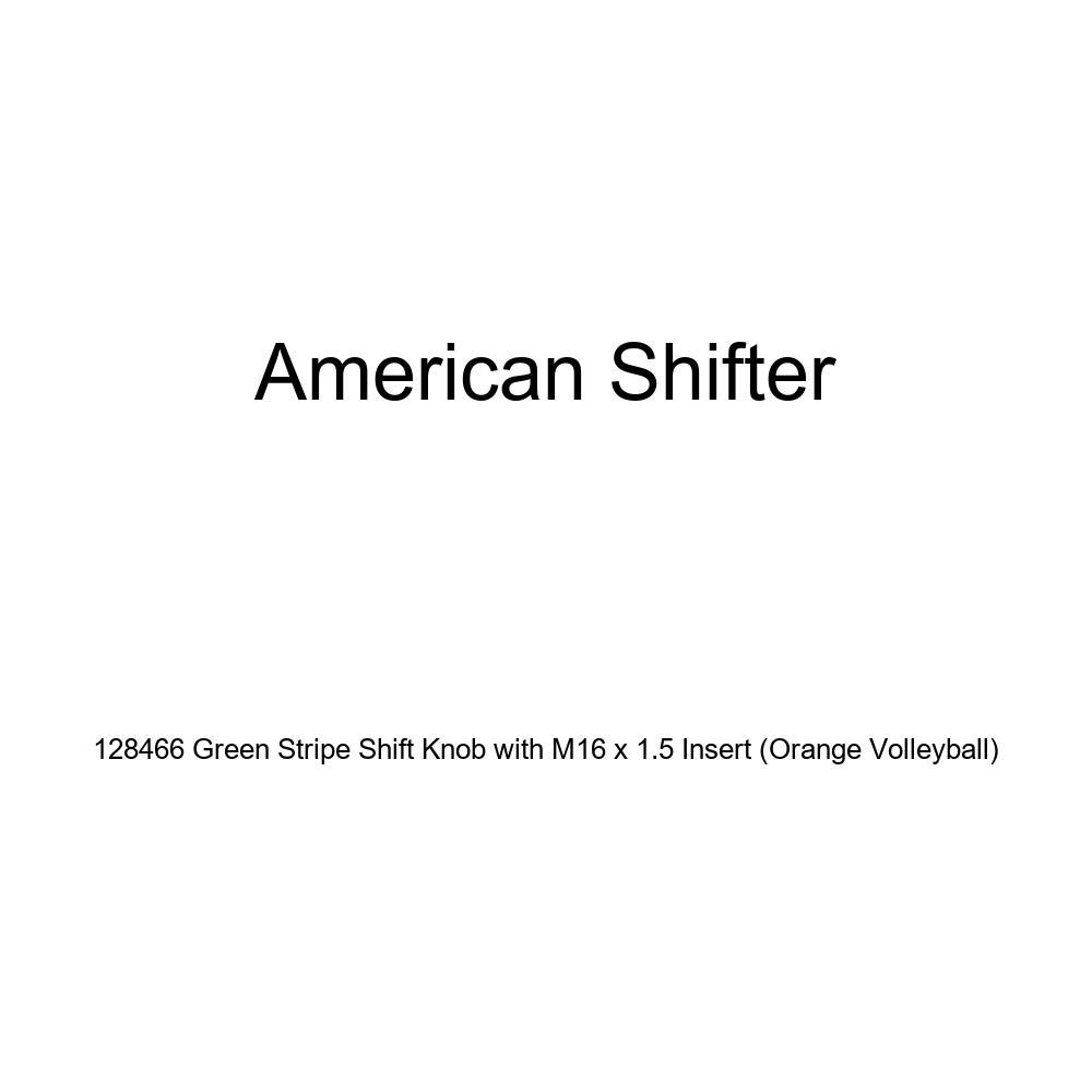 American Shifter 128466 Green Stripe Shift Knob with M16 x 1.5 Insert Orange Volleyball