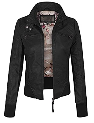KOGMO Womens Faux PU Leather Quilted Zip Up Casual Bomber Jacket