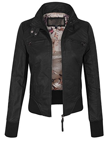 KOGMO Womens Faux PU Leather Quilted Zip Up Jacket With Removable Fleece Hoodie-M-CAMEL_HOODIE