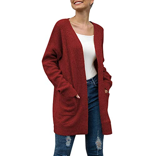 Fine Line Stripe French Cuff - QIQIU Sexy Womens New Knitted Sweater Long Sleeve Pockets Cardigan Solid Cover Up Casual Multicolor Coat Blouses Red