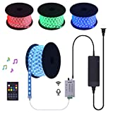 90 FT 24V RGB LED Strip Light Kit Silicon Encase Tubing Waterproof Continuous Long Runs Spool Rope Light with Audio Input Music Sensor RF Controller and Power Supply