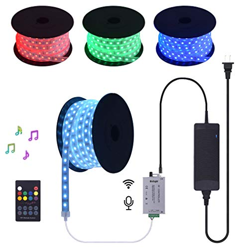 100 FT 24V RGB LED Strip Light Kit Silicon Encase Tubing Waterproof Continuous Long Runs Spool Rope Light with Audio Input Music Sensor RF Controller and Power Supply ()