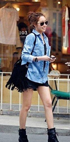Ante Messenger Celebrity Fashion Cuerpo Hombro Bolso Fringe Cruz café Sintético De Borla qgwOAwI
