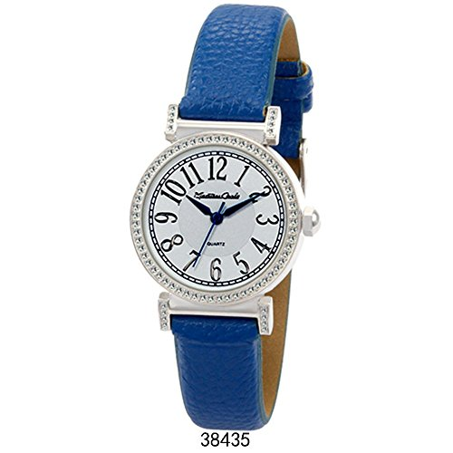 Montres Carlo Blue Faux Leather Strap with Silver Case White Dial