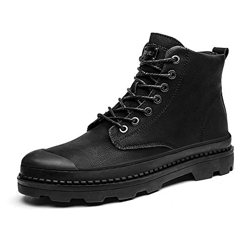 Botín Para Redonda Punta De Negro Alta Hombres Suela Zapatos Bota Interior Invierno Botas Faux Trabajo Interior Polar wE4nBxq1
