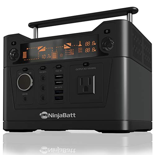 NinjaBatt Portable Power Station with 288Wh Backup Lithium Battery, 110V 300W AC Outlet 4 X USB, 3 X 12V 24V DC Ports LED Flashlight, Power Supply for Home Outdoor Camping Fishing or Emergencies