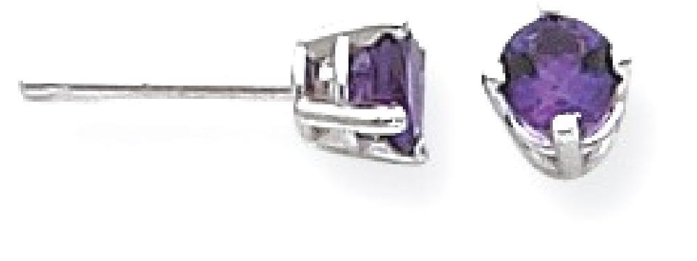 ICE CARATS 14k White Gold 4mm Purple Amethyst Post Stud Ball Button Earrings Gemstone Fine Jewelry Gift For Women Heart
