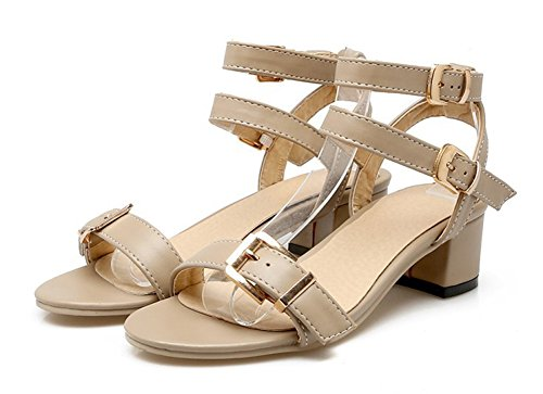 Aisun Womens Fashion Open Toe Dress Buckle Chunky Low Heels Sandals Shoes With Ankle Straps Khaki lDLfIgv0b