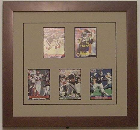 Brushed Silver Moulding with Dark Blue White Trim Trading Card Display Frame for 15 Standard Trading Cards Matting