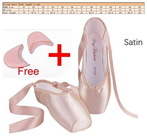 Labu Store Satin Canvas Pointe Shoes With Ribbon And Gel Toe Pad Girls Women's Pink Professional Ballet Dance Pointe Toe Shoes