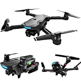 Choosebuy GPS Folding RC Drone with HD Electric Camera, FPV 2.4G/Altitude Hold/WiFi Control/Foldable Quadcopter/Outdoor Toy Gift for Beginners for Adults (B)