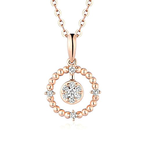 Daesar 18K Gold Womens Necklace Round Diamond (1.04ct) & Rose Gold Pendant Necklace Chain 45CM (1.53G) by Daesar