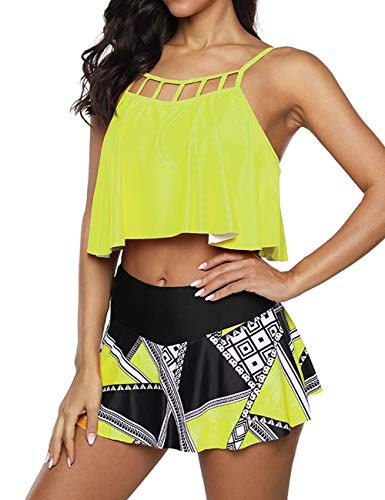 Anguang Tankini Swimsuits for Women 2 Piece Floral Ruffled Bathing Suit Tummy Control High Waisted Skirt Briefs Bikini Set Yellow 2XL