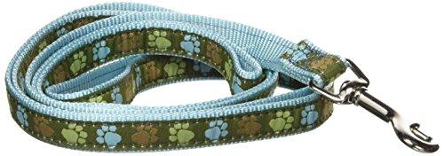 Hamilton Single Thick Dog Leash with Aqua Paws Patterned Ribbon Overlay, 5/8