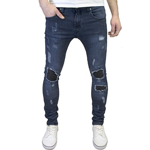 526Jeanswear Mens Designer Branded Super Skinny Biker Ripped Detailed Jeans (30W x 32L, Stonewash)