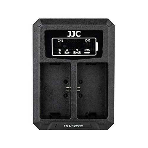 JJC LP-E6 Battery Charger USB Dual Slot for Canon EOS R 80D 70D 60D 6D Mark II 7D Mark II 5D Mark IV 5D Mark III 5D Mark II 5DS 5DS R Cameras
