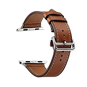 GEOTEL 42mm iWatch Band Strap Premium Genuine Leather Replacement Watchband with Deployment Buckle for All Apple Watch Sport Edition (42mm Brown)