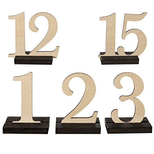Cheap Ling's moment Wooden Table Numbers THICK STURDY VINTAGE Holder Base Wedding, Party, Events Catering Decoration, 1 to 15, Pack of 15