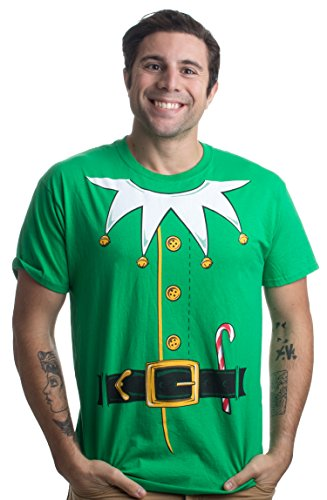 Holiday Elf Adult Costumes (Santa's Elf Costume | Jumbo Print Novelty Christmas Holiday Humor Unisex T-shirt-Adult,L)