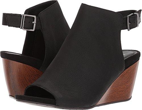 Kenneth Cole REACTION Women's Cake Jar Leather Peep Toe Adjustable Backstrap Wedge Sandal, Black, 8.5 M ()