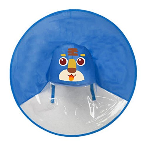 Tpingfe Cute Rain Coat, UFO Children Umbrella Hat Magical Hands Free Raincoat (Blue, Little Tiger)