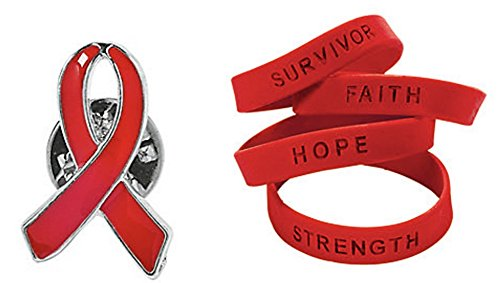 Red Ribbon Awareness Bracelets and Pin Set (36 Pieces) -12 Red Pins - 24 Saying Bracelets