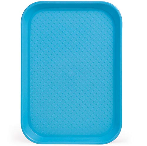 Fast Food Cafeteria Tray | 10 x 14 Rectangular Textured Plastic Food Serving TV Tray | School Lunch, Diner, Commercial Kitchen Restaurant Equipment (Blue) ()
